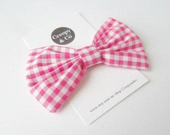 Pink Check Fabric Hair Bow, Hair Clip, Rockabilly Hair Bow, Rockabilly Hair Accessory, Hair Accessories, Bow Tie, Hair Bow for Women