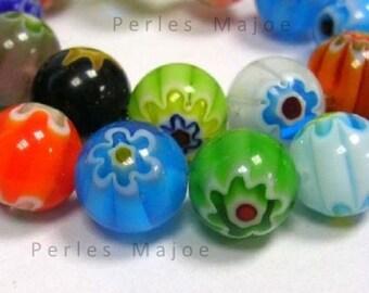 65 x perles en verre millefiori rondes assorties