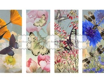 Printable Bookmarks Unique Images Digital Flowers Floral Image Printable Gift Tags Decoupage Paper Art Strips Digital Collage Sheets
