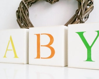 BABY letter blocks, Shabby Chic, painted in Annie Sloan