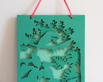 Framework decorative, green and fuschia, 3-d for children's room: Toucan