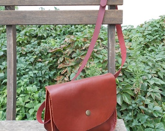 handmade mahogany leather flap satchel