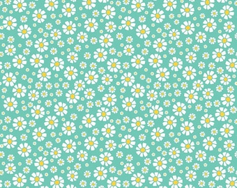 Strawberry Daisy Teal from Riley Blake by the Half Yard
