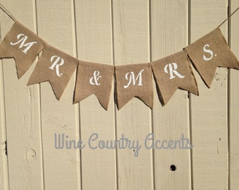 Wedding Banner. Burlap Banner.  Rustic Wedding Decor. Shabby Chic Wedding. Mr. and Mrs. Banner. Country Chic. Engagement Party. Photo Prop