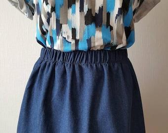 Blue denim skirt | Etsy