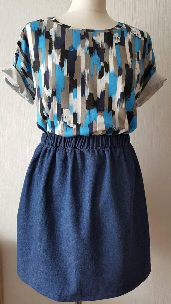 gathered denim mini skirt elasticated waist mini skirt denim