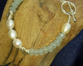 Faceted Milky Aquamarine, Freshwater Pearl , and Karen Hill Silver Bracelet
