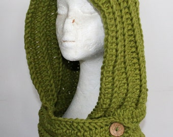 Chunky Knit HOOD SCOOD, Hooded Cowl, Crochet, Green, Fesitval, Neck Warmer, winter, warm, wool, custom, buttons, pixie, forest, buttons