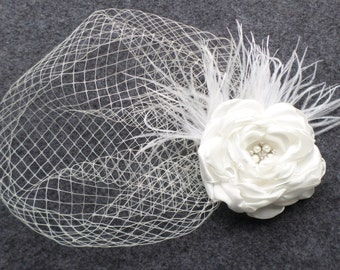 Birdcage Veil + Wedding Fascinator - in  White or Ivory , Blusher veil, Wedding Veil