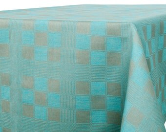 Linen Tablecloth, Turquoise, Grey linen table top, Linen table cover, Tablecloth