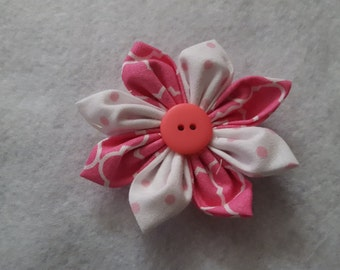 Pink and White Fabric Flower Clip