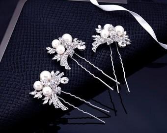 Crystal Hair Pin, Wedding Hair Pin, Leaf Hair Pin, Bridal Hairpin, Rhinestone Hairpin, Pearl Hair Pin, Silver Hair Pin, Bridal Comb