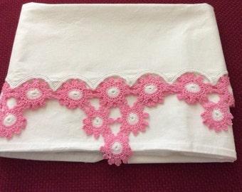 Pink Crochet Trimmed Vintage Pillow Case