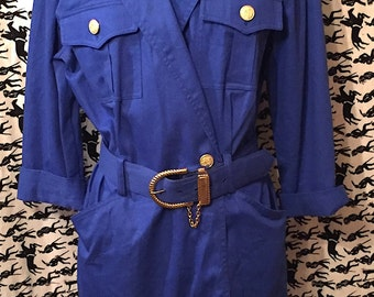 RESERVED Vintage 1980s Military Iinspired Shirt Dress 80s Retro Military Dress Nautical Grunge