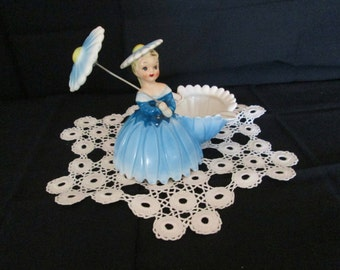 Vintage Darling Young Lady with a Umbrella Ash Tray  50's Ashtray