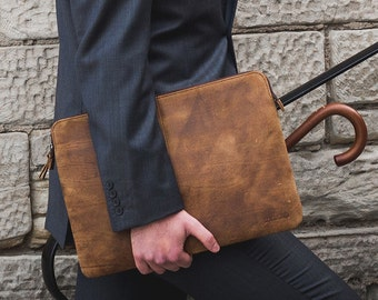 Vintage Leather Laptop Office Bag 16 INCH Leather Laptop Case without  handle