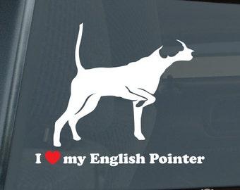 I Love My English Pointer Die Cut Vinyl Sticker v2 - 1177