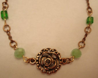 Copper Bracelet with Copper Rose, Emerald Green & Apple Green Beads  7""