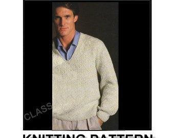 PATTERN, V- neck knitted sweater pattern, for men,  knitting pattern, sweater pattern, knitted pullover sweater pattern