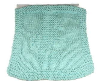 Bathroom Washcloth - Kitchen Dishcloth- Hand Knitted - Seahorse- Light Blue - 8 x 8 Inches