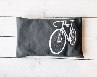 "Cherry stone pillow ""Bicycle"", grey"
