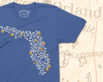 Florida Map | T-Shirt | Screenprint | FL Highways | Oranges | State | Soft