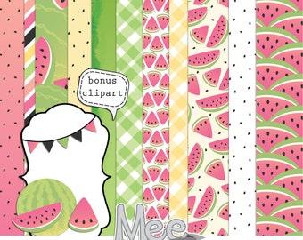 Pink watermelon digital papers,digital scrapbook kit,scrapbooking papers,scrapbook clipart,summer digital papers,instant download