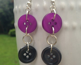 Plum and Gray Button Earrings