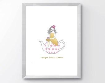 Alice in Wonderland Customizable Nursery Name Print, Nursery Name Print, Girls Room Print, Storybook Print, Nursery Decor, Nursery Art