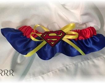 Superman Wedding Bridal Garter, Superman Bridal Garter, Blue Red Yellow Bridal Garter, Superhero Bridal Garter, Superhero Wedding