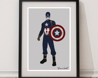 Captain America Character Poster/Print - minimalist cap superhero captain america strong hero poster art decor