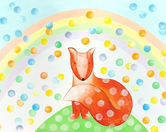 Original painting - A Fox - Large canvas art - Kids room wall art - Nursery decor - Bright colorful - Baby boy room painting