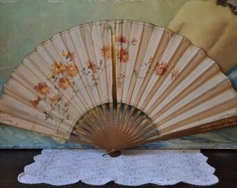 Victorian Hand Painted Silk Fan Paris