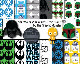 Star Wars Digital Paper, Star Wars Scrapbook Paper, Scrapbook Paper Star Wars, Star Wars Clip Art, Instant Download, Star Wars Download