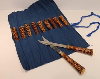Vintage Bakelite Sheffield Steak Knives - Faux Bark Handle Knives - Bakelite