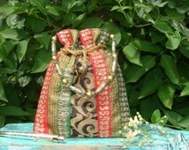 Boho Pouch Hand Bag -Upcycled sari pouch bag- Indian Drawstring Purse in Black and Gold Brocade silk