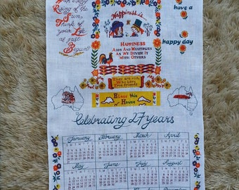Happiness is.....Calender tea towel. Bless This House tea towel. Kitchen linen.