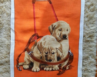 Irish linen. Guide dog tea towel. Orange linen. Retro linen