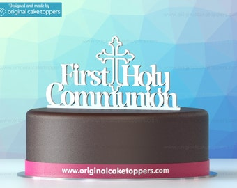 "Cake Topper ""First Holly Communion"" - WHITE - Christian Ceremony - Designed & Made by OriginalCakeToppers"