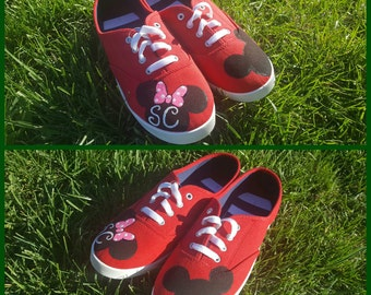 Mickey and Minnie with custom intials tie sneakers