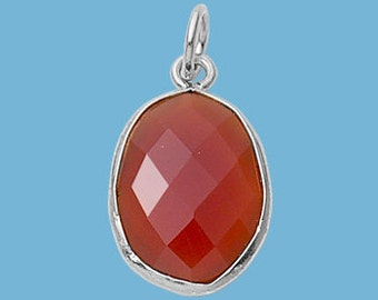 Small Carnelian Sterling Silver Oval Pendant, 13x16mm
