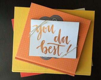 """Pack of 5 """"you da best"""" cards & envelopes"""