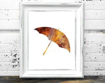 Rusted Umbrella Print,#Rustic,#Rusty,#Umbrella,#Rain,#Orange,#Patina,#old,#antique,#metal,#color,#Art,#Irony,#weather,#Funny,#Yellow,#Home