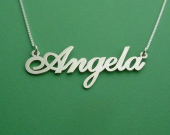 Carrie Style Name Necklace / Angela Name Necklace / Name Necklaces Silver/ Personalized Necklace / Girls Nameplate Necklace / Name Plate