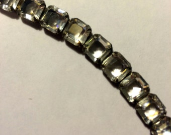 Vintage Sterling and Square Crystal Bracelet