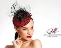 Red & Black Fascinator Derby mini hat, Melbourne hat, Royal Ascot hat, Wedding quest hat, party dress hat. Fashion Millinery mini hat