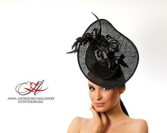 Fashion Millinery Ornate Royal Ascot horse race hat, Black Fascinator, Melbourne cup hat, Wedding quest tea party hat, couture derby hat