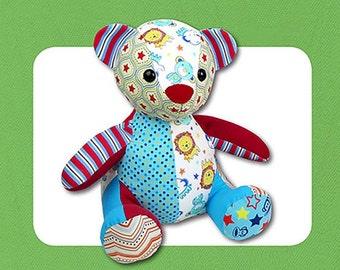 "Cloth Teddy Bear PATTERN ""Melody Memory Bear"""