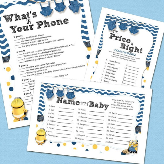 Minion Blue Baby Shower Games