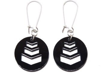 Chevron Disc Black Dangle Earrings // Chevron Earrings / Black Chevron Earrings / Dangle Earrings / Statement Earrings / Military Earrings